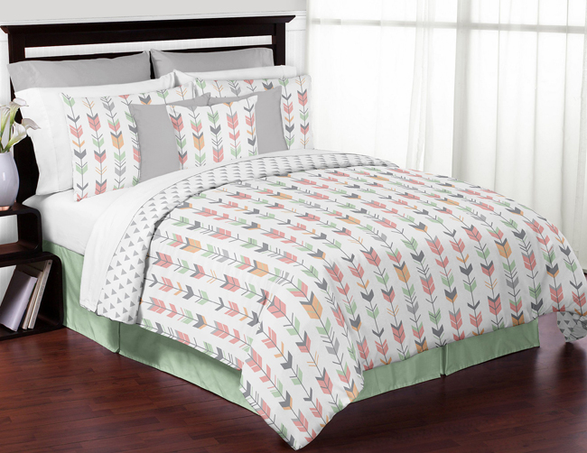 Mod Arrow Grey Coral And Mint Full Queen Bedding Collection