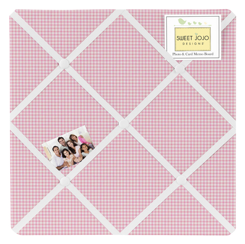 Pink Toile Collection Gingham Print Fabric Memo Board