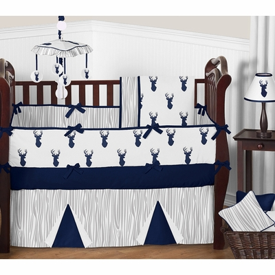 Stag Navy and White Crib Bedding Collection