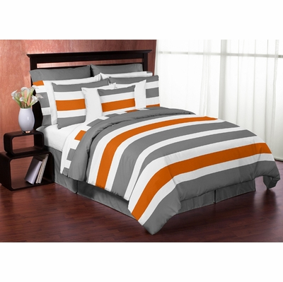 Stripe gray and orange full queen bedding collection - Orange and grey comforter ...