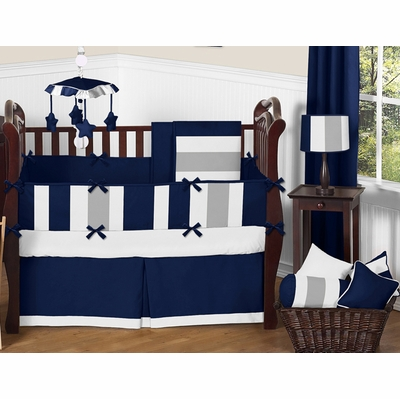 Stripe Navy and Gray Crib Bedding Collection