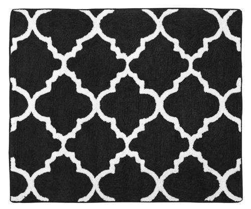 Black And White Floor Rug: Trellis Black And White Collection Accent Floor Rug