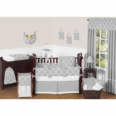 Trellis Gray and White Crib Bedding Collection