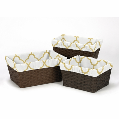 Trellis White and Gold Collection Basket Liner