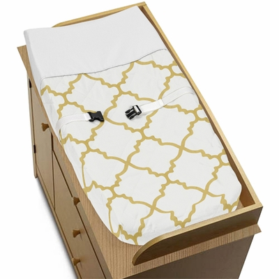 Trellis White and Gold Collection Changing Pad Cover