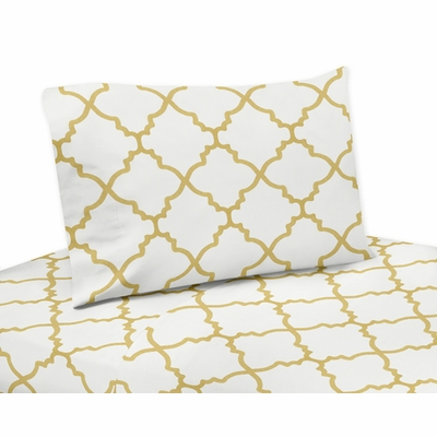 Trellis White and Gold Collection Queen Sheet Set