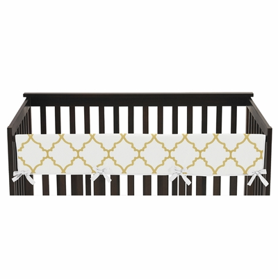 Trellis White and Gold Collection Long Rail Guard Cover