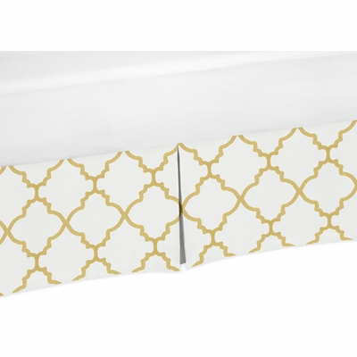 Trellis White and Gold Collection Queen Bed Skirt