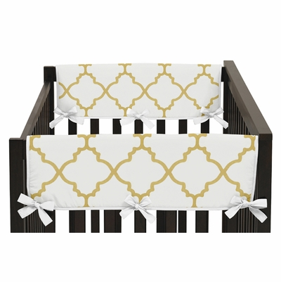Trellis White and Gold Collection Side Rail Guard Covers - Set of 2