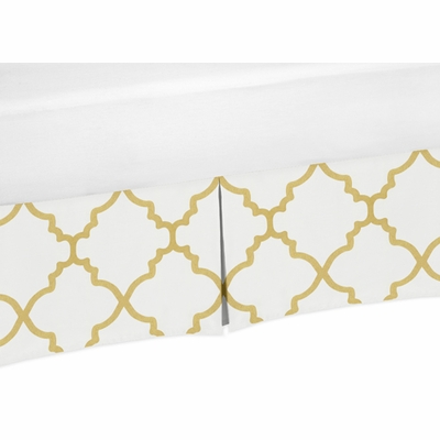 Trellis White and Gold Collection Toddler Bed Skirt