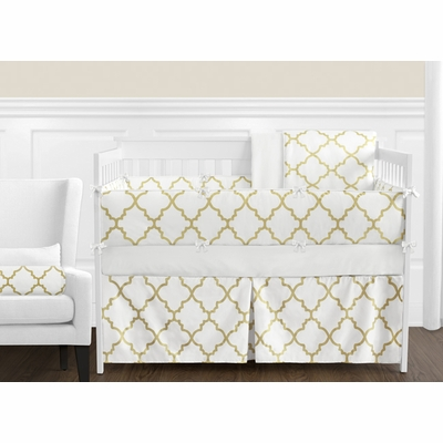 Trellis White and Gold Crib Bedding Collection