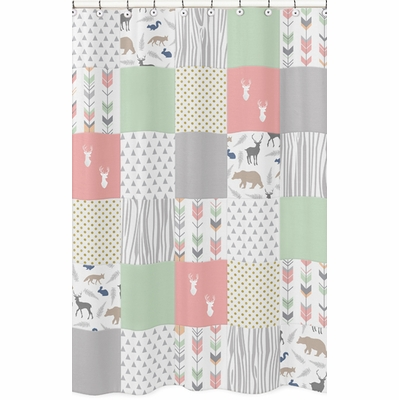 Woodsy Coral Mint And Grey Collection Shower Curtain