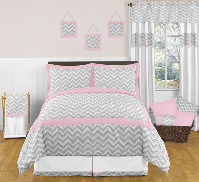 Zig Zag Pink And Gray Chevron Full Queen Bedding Collection