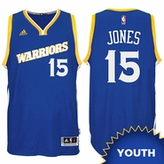 Damian Jones Youth Jersey: adidas Stretch Crossover #15 Golden State Warriors Royal NBA Swingman Jersey