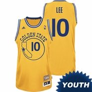 David Lee Youth Jersey: Hardwood Classics Gold Swingman #10 Golden State Warriors NBA Jersey
