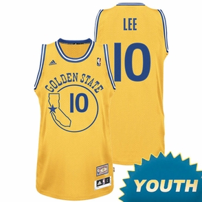 David Lee Youth Jersey: Hardwood Classics Gold Swingman #10 Golden State Warriors NBA Jersey - Click to enlarge