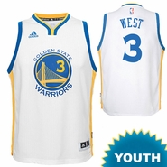 David West Youth Jersey: adidas Home Swingman #3 Golden State Warriors NBA Jersey - White