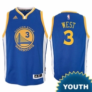 David West Youth Jersey: adidas Road Swingman #3 Golden State Warriors NBA Jersey - Royal