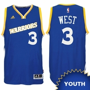 David West Youth Jersey: adidas Stretch Crossover #3 Golden State Warriors Royal NBA Swingman Jersey