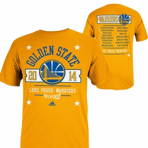 Golden State Warriors 2014 Adidas Court Roster Playoff Tee - Gold - Click to enlarge
