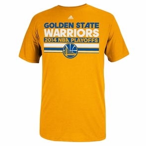 Golden State Warriors 2014 Adidas Playoff Clinch Mesh Bar Tee - Gold - Click to enlarge