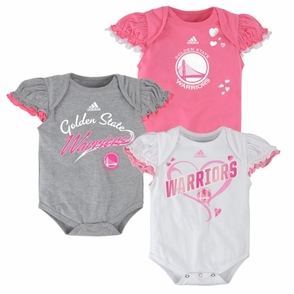 Golden State Warriors 3 Piece Team Body Suit Set-Pink - Click to enlarge