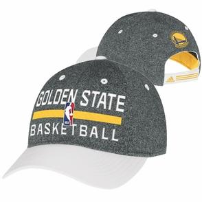 Golden State Warriors adidas Authentic Adjustable Slouch Practice Cap - Grey/White - Click to enlarge