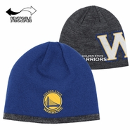 Golden State Warriors adidas Authentic Reversible Team Knit Beanie - Royal/Grey