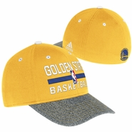 Golden State Warriors adidas Authentic Structured Practice Flex Cap - Gold/Grey