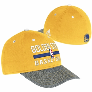 Golden State Warriors adidas Authentic Structured Practice Flex Cap - Gold/Grey - Click to enlarge