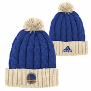 Golden State Warriors adidas Christmas Day Cuffed Pom Knit Hat - Royal/Cream