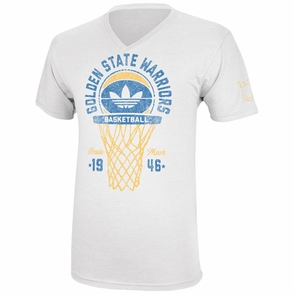 Golden State Warriors adidas Classic Net V-Neck Tee - White - Click to enlarge