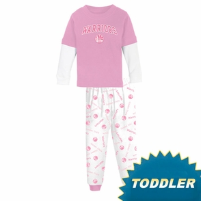 Golden State Warriors adidas Girl's Toddler Pink 2 Piece Layered Pajama Set - Click to enlarge