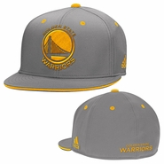 Golden State Warriors adidas Gold Primary Logo Flat Brim Flex Fit � Grey