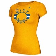 Golden State Warriors adidas Hardwood Classics 'The City' Ladies' Cap Sleeve Tee - Gold