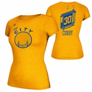 Golden State Warriors adidas Hardwood Classics 'The City' Stephen Curry #30 Ladies' Name & Number Tee - Gold
