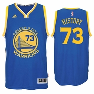 "Golden State Warriors adidas ""History 73"" NBA Record 73 Wins Road Swingman Jersey - Royal"