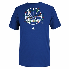 Golden State Warriors adidas Holidays Christmas Lights Tee - Royal - Click to enlarge