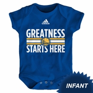 """Golden State Warriors adidas Infant """"Greatness Starts Here"""" Short Sleeve Creeper - Royal"""