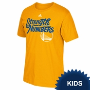Golden State Warriors adidas Kids 2016 NBA Playoffs On-Court Mantra Tee - Gold