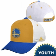 Golden State Warriors adidas Kids Primary Logo 2-Panel Structured Adjustable Cap - Gold/White