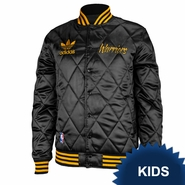 Golden State Warriors adidas Kids Primary Logo Box Twill Satin Snap Jacket - Black