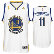 Golden State Warriors adidas Klay Thompson Trophy Ring Banner Swingman Jersey - White