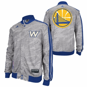 Golden State Warriors adidas Limited Edition Christmas Day 'W' Logo Snap Up Jacket - Grey - Click to enlarge