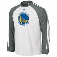 Golden State Warriors adidas Long Sleeve 3-Stripe Tee - White