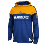 Golden State Warriors adidas On-Court Hooded Long Sleeve Shooter - Royal/Gold