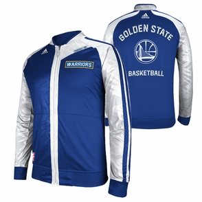 Golden State Warriors adidas On-Court Warmup Jacket - Royal/White - Click to enlarge