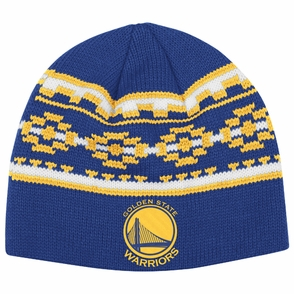 Golden State Warriors adidas Pattern Knit Skully Hat - Royal - Click to enlarge