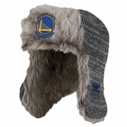 Golden State Warriors adidas Primary Logo Faux Fur Lined Knit Trooper Cap - Grey