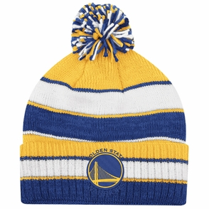 Golden State Warriors adidas Primary Logo Striped Cuffed Pom Knit Beanie - Click to enlarge